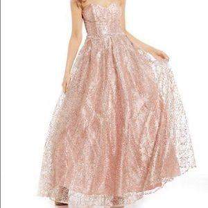 GB Social Strapless Glitter-Pattern Ballgown